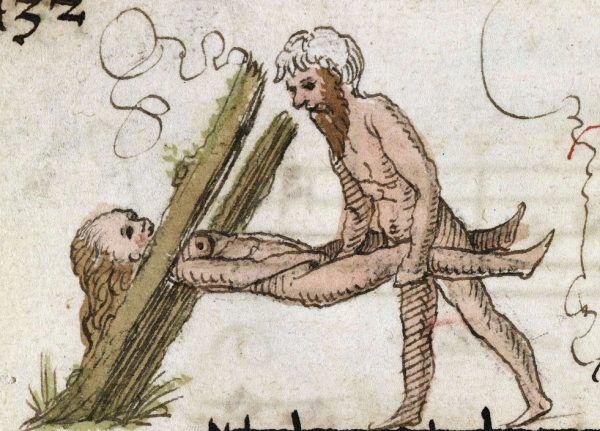 """Zakazany owoc średniowiecza - niekanoniczna pozycja. Inicjał """"A"""" w śpiewniku z Brugii (źródło: domena publiczna)."""