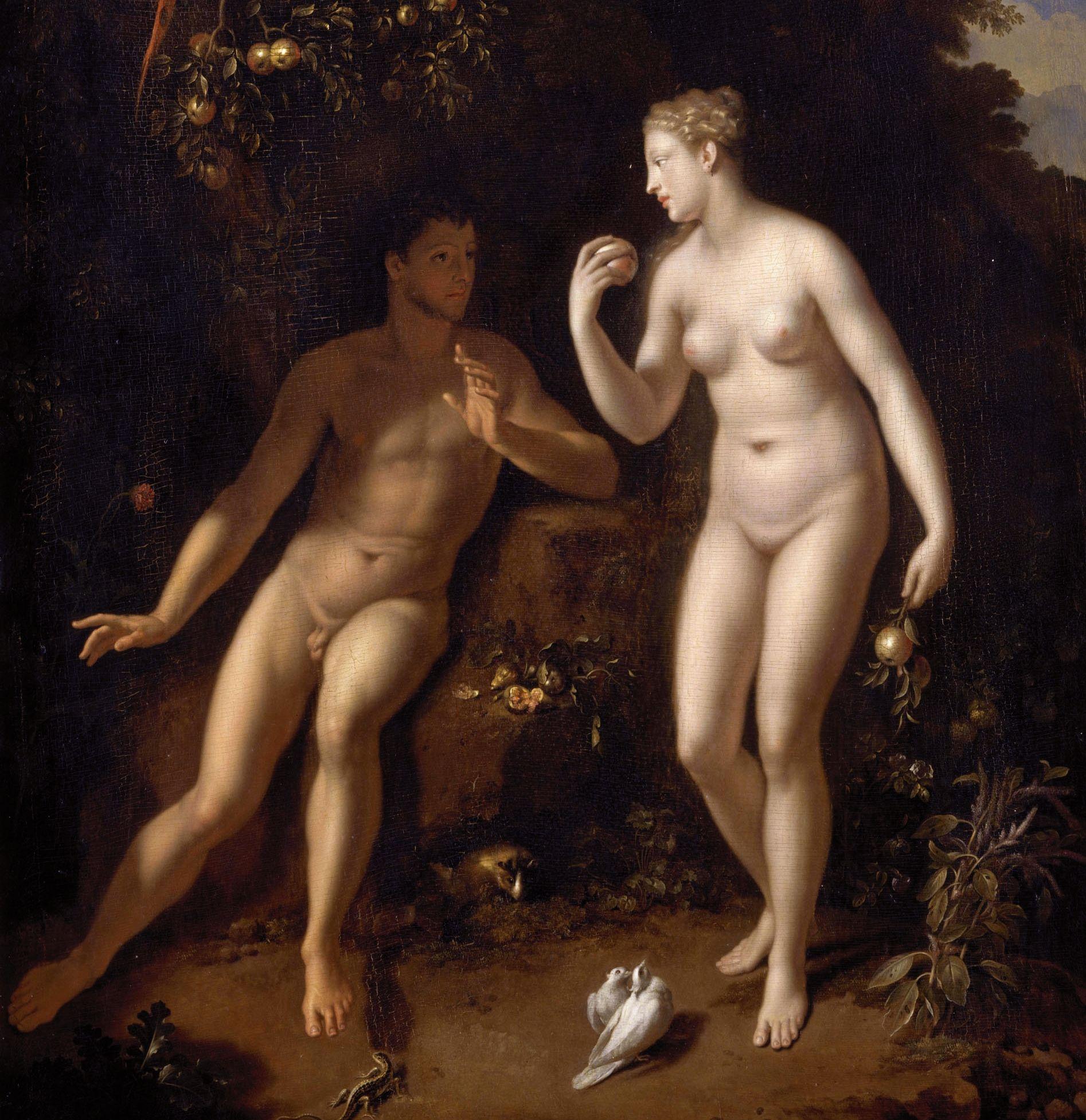 Biblijna Ewa wręczająca jabłko biblijnemu Adamowi. W tym wypadku nie pochodziło ono spod jej pachy. A przynajmniej miejmy taką nadzieję... Obraz Adriaeena van der Werfa z ok. 1711 roku (źródło: domena publiczna).