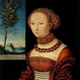 Czy taką minę zrobiła Anna, gdy dowiedziała się, że ma zostać siostrą swojego męża? Na portrecie Łukasza Cranacha starsza siostra Anny, elektorowa saska Sybilla (źródło: domena publiczna).