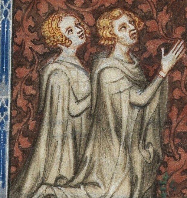 Kiedy Filip zabawiał się z Blanką, Jan mógł czuć się wystrychnięty na dudka. Bona przynajmniej była płodną małżonką... Miniatura z psałterza Bony Luksemburskiej przedstawiająca ją i Jana podczas modlitwy (źródło: domena publiczna).