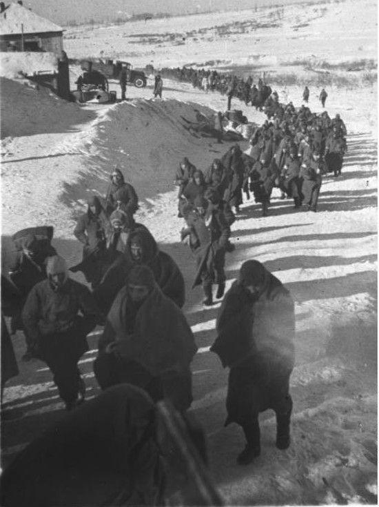 Niemiecka armia potrzebowała świeżej krwi, zwłaszcza po klęsce pod Stalingradem. A Volksdeutsche mieli obowiązek udowodnienia swojej wierności Rzeszy. Na zdjęciu: kolumna niemieckich jeńców w drodze do obozu, luty 1943 (źródło: Bundesarchiv, lic.: CC BY-SA 3.0 de).