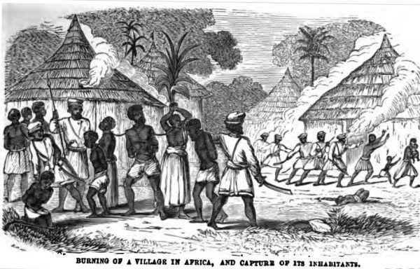 Gdy w grę zaczęły wchodzić naprawdę poważne zyski i poważna konkurencja, polowania na niewolników stawały się coraz bardziej brutalne (źródło: domena publiczna).