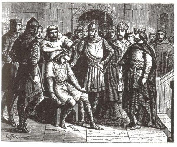 Istniejący przez wieki tajny zakon, który wpływa na losy świata... motyw znany, ale zawsze pasjonujący! Na ilustracji: postrzyżyny Childeryka III z dynastii Merowingów (źródło: domena publiczna).