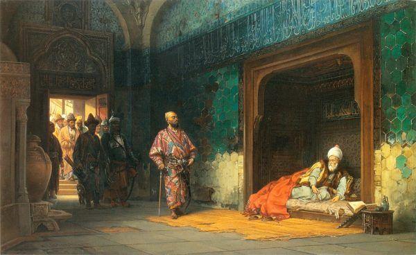 Timur Kulawy stworzył w Azji wielkie imperium. Na obrazie autorstwa Stanisława Chlebowskiego sułtan Bajazyt w niewoli u Tamerlana (źródło: domena publiczna).