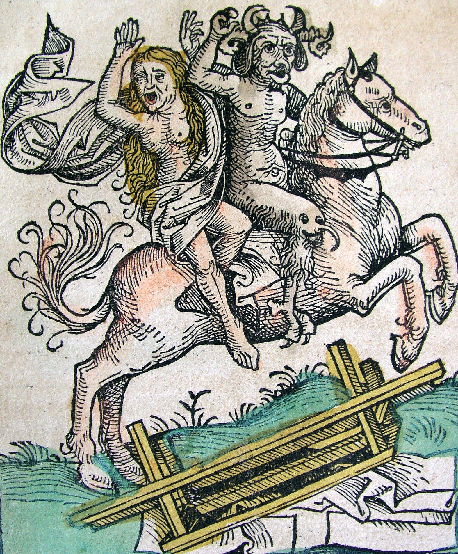 Z natury grzeszna, kobieta była wymarzoną kochanką dla diabłów i demonów. Kronika Norymberska z 1493 roku (źródło: domena publiczna).