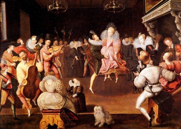 """Elżbieta I """"mogła przez cały dzień polować, a całą noc tańczyć, aż pod silnymi mężczyznami kolana się załamywały"""". Królowa podczas tańca ze swym faworytem, Robertem Dudleyem (źródło: domena publiczna)."""