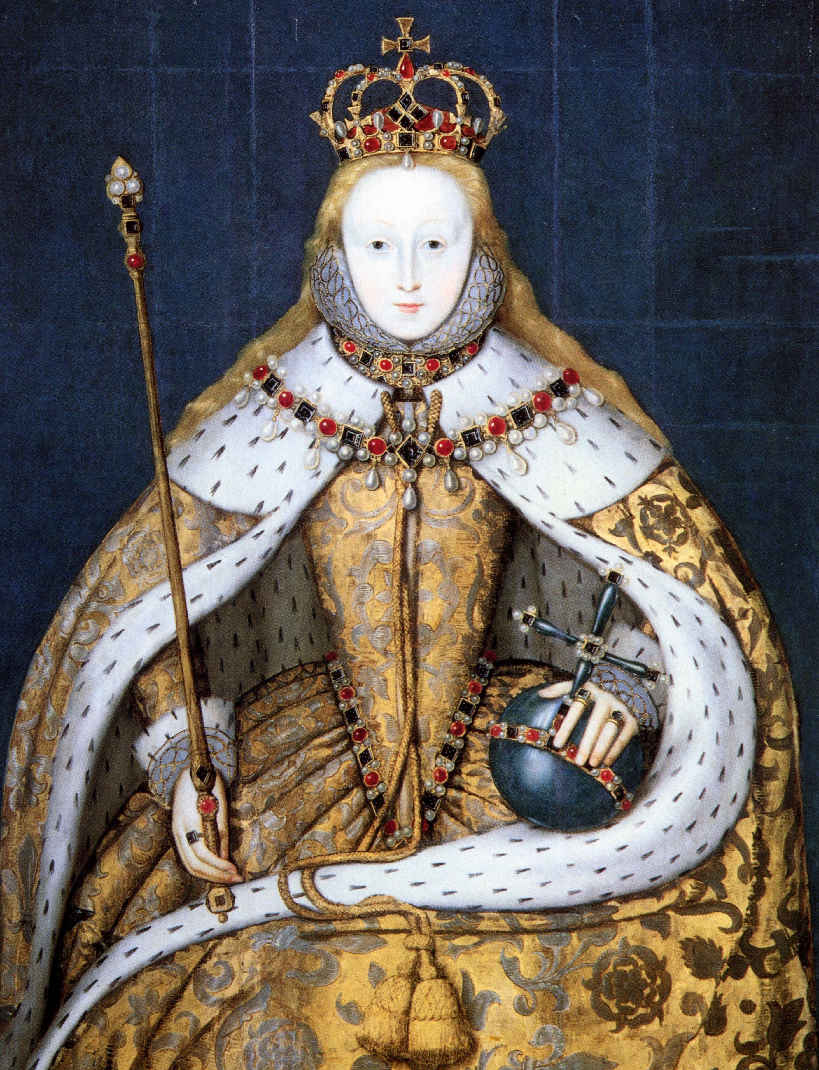 Elżbieta I w szatach koronacyjnych. Wielu widziało w niej zdeformowaną istotę, a może nawet... mężczyznę (źródło: domena publiczna).