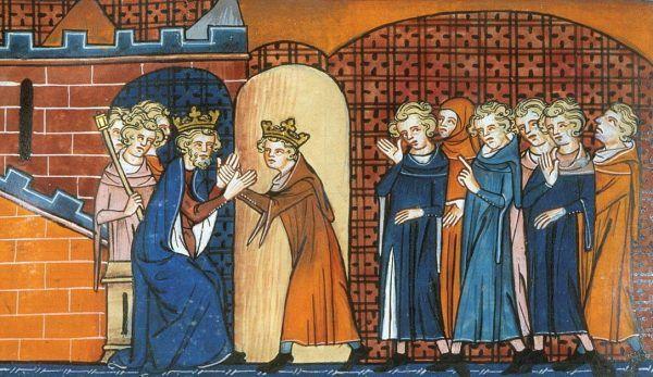 Artur schronił się u króla Francji Filipa II Augusta. Nie niewiele mu się to jednak zdało... Dzieło Kronikarza z Saint-Denis (źródło: domena publiczna).