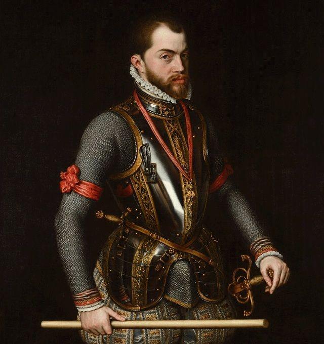 """Król Hiszpanii Filip II Habsburg, wdowiec po siostrze Elżbiety I, długo starał się o rękę """"dziewiczej królowej"""". Najpierw jednak musiał się upewnić, czy to aby na pewno kobieta... Obraz Antonia Moro z 1557 roku (źródło: domena publiczna)."""