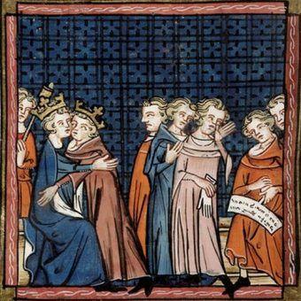 Jan bez Ziemi składa pocałunek pokoju królowi Francji Filipowi II Augustowi. Wkrótce stracił na jego rzecz prawie wszystkie posiadłości kontynentalne... Dzieło kronikarza z Saint-Denis (źródło: domena publiczna).