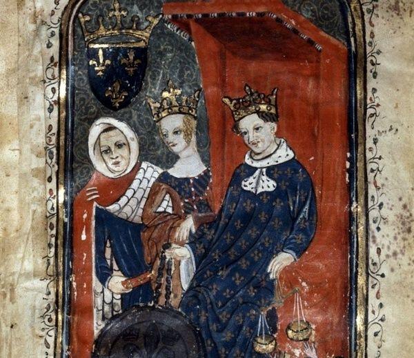 Filip VI z małżonką Joanną. Choć nieraz zalazła mu za skórę, trwał przy niej... aż do jej śmierci (źródło: domena publiczna).