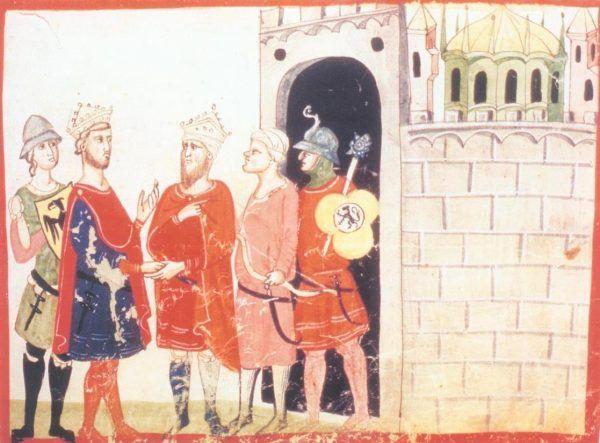 Fryderyk II odzyskał Jerozolimę drogą układów, a nie zbrojnej konfrontacji. I właśnie dlatego został ekskomunikowany. I to nie ostatni raz... Cesarz podczas rozmów z sułtanem al-Kamilem (źródło: domena publiczna).