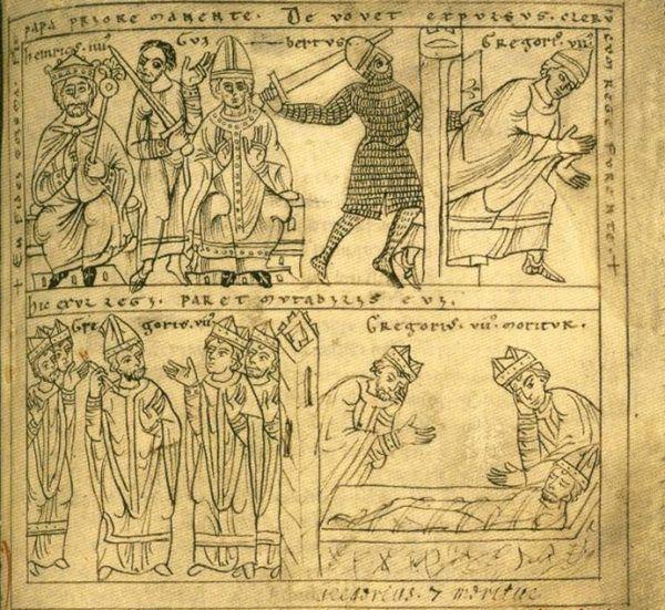 W 1084 roku cesarz wkroczył do Rzymu i nie przejmując się kolejną klątwą, przegnał papieża Grzegorza VII. Ucieczka, wygnanie i śmierć Ojca Świętego w kronice Ottona z Fryzyngii (źródło: domena publiczna).
