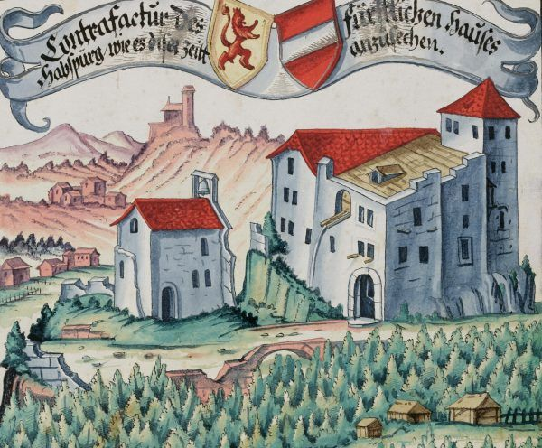 Pierwsze znane realistyczne przedstawienie zamku Habsburg na ilustracji Hansa Ulricha Fischa z 1634 roku (źródło: domena publiczna).