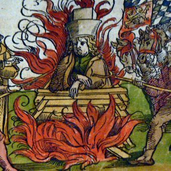 Klątwa rzucona na Husa była jednym z nieprzyjemnych wydarzeń na jego drodze życia, zakończonej na płonącym stosie. Miniatura Wolfganga Saubera z 1536 roku (źródło: domena publiczna).