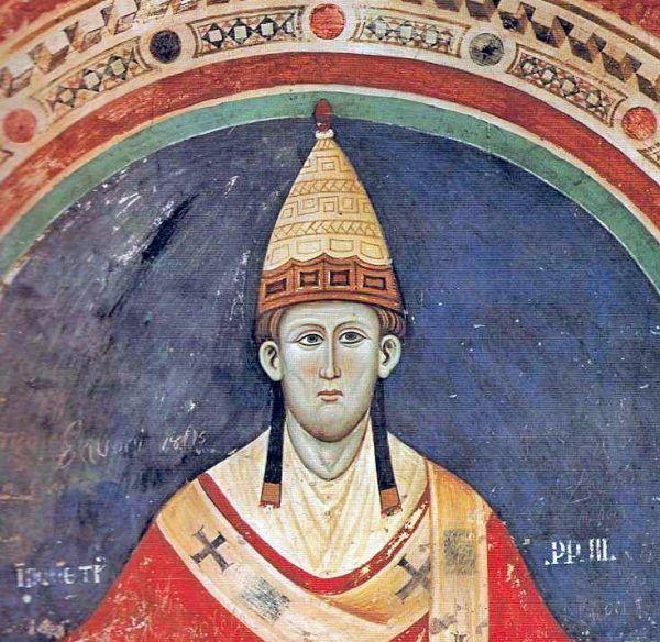 Papież ambitny i o niepohamowanej żądzy bogactw... Innocenty III na fresku z klasztoru Sacro Speco (źródło: domena publiczna).