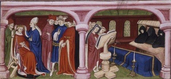 Po siedmiu miesiącach małżeństwa przemęczony Filip VI opuścił ten padół łez, pozostawiając Blankę wdową na prawie pół wieku... Na miniaturze koronacja Jana II Dobrego i pogrzeb Filipa VI (źródło: domena publiczna).