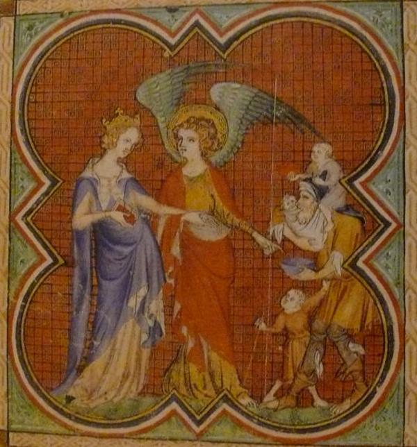 """Pikanterii sytuacji dodawał fakt, że - gdyby nie pospieszna zmiana prawa dziedziczenia - to matka Blanki byłaby władczynią Francji. Na miniaturze królowa Nawarry Joanna II Mała w rozmowie z aniołem. """"Godzinki Joanny Nawarskiej"""" autorstwa Jeana le Noira (źródło: domena publiczna)."""