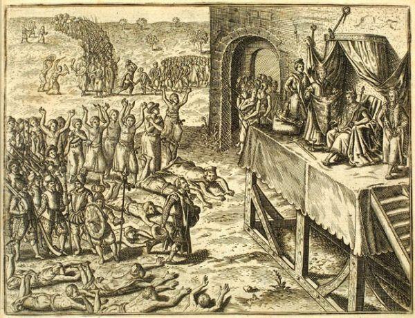 Kto zyskiwał na handlu niewolnikami? Przede wszystkim dostawcy - największe i najsilniejsze ówczesne państwa Czarnego Lądu! Na ilustracji audiencja delegacji z Portugalii u władcy Królestwa Kongo (źródło: domena publiczna).
