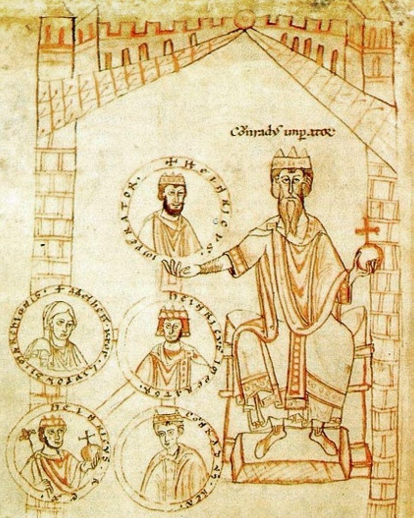Cesarz Konrad II jako protoplasta dynastii. Mało kto pamięta, że jego wstąpienie na tron zroszone było mnóstwem łez (źródło: domena publiczna).
