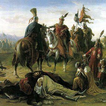Rudolf I, twórca wielkości rodu, na polu bitwy, która wprowadziła Habsburgów do najwyższej elity Rzeszy (źródło: domena publiczna).