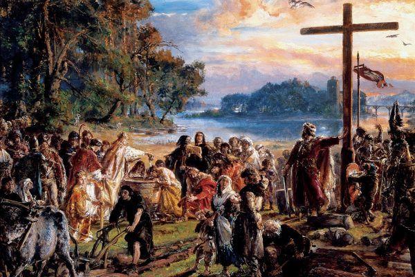 Mieszko wygrał pod Cedynią, ale chrystianizacja Polski już tak mu się nie udała. Obraz Jana Matejki (źródło: domena publiczna).
