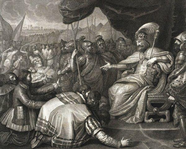 Historycy woleliby widzieć takiego dostojnego Mieszka II zamiast płaksy. Tylko czy słusznie? Miedzioryt Angela Campanelli na podstawie obrazu Franciszka Smuglewicza przedstawiający, jak Mieszko II karze Pomorzan (źródło: domena publiczna).