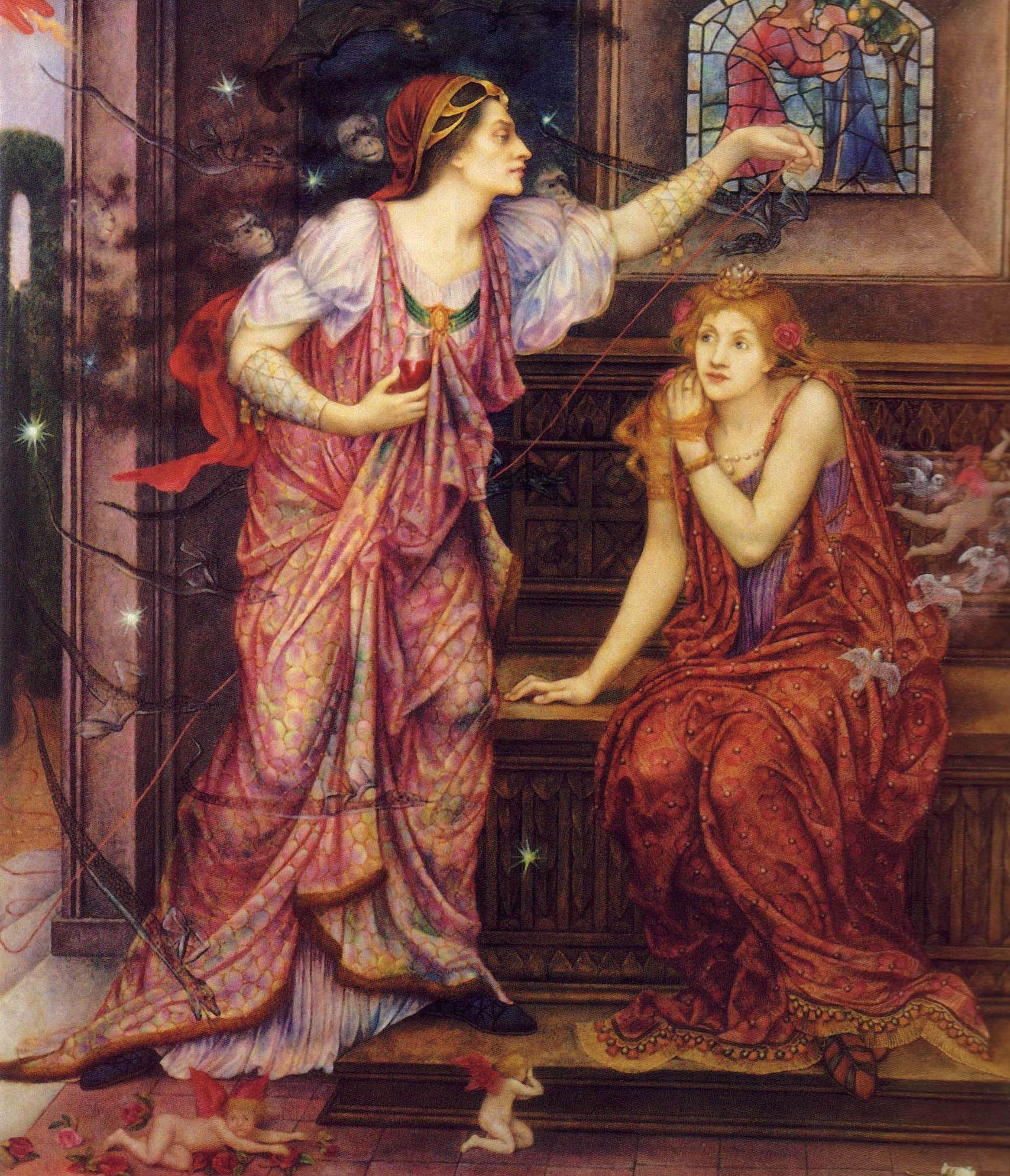 Magicznie przygotowywany napój miłosny dla młodziutkiej panny? Akurat nie w tym wypadku. To Eleonora Akwitańska przygotowująca truciznę dla kochanki swego męża, Rozamundy Clifford. Obraz Evelyn de Morgan (źródło: domena publiczna).