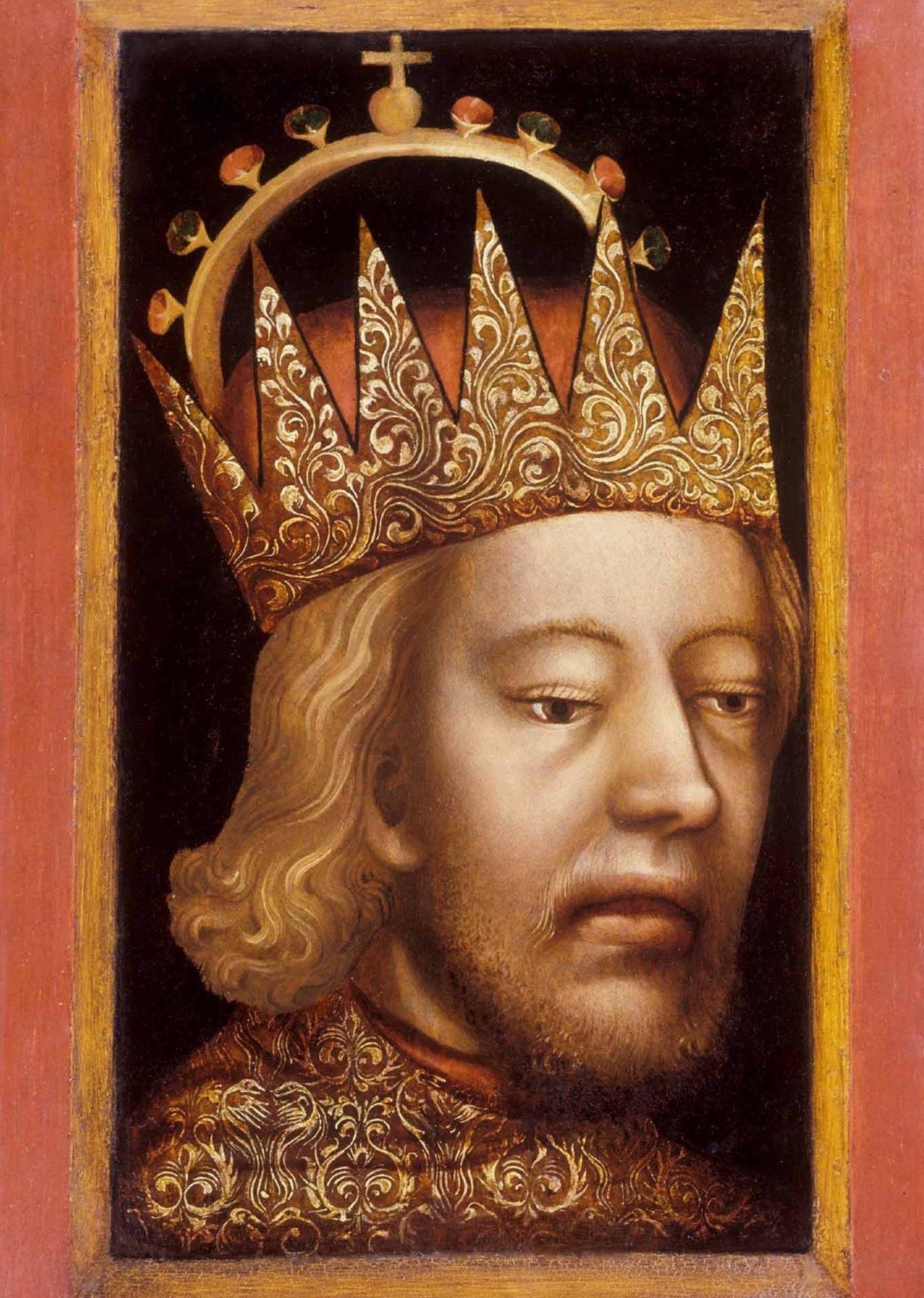 Rudolf IV Fundator na jednym z najstarszych samodzielnych portretów w sztuce europejskiej przedstawiony w czapce arcyksiążęcej. Od razu widać z twarzy, że to Habsburg... (źródło: domena publiczna).