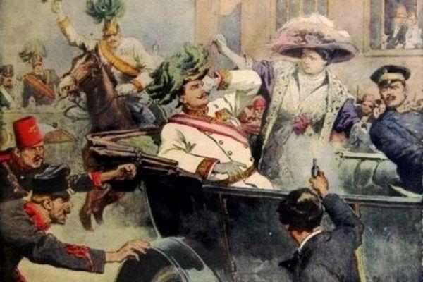 """Zamach w Sarajewie na rysunku Achille'a Beltrame'a z włoskiej gazety """"Domenica del Corriere"""" (źródło: domena publiczna)."""
