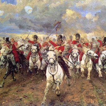 Szarża Szkotów pod Waterloo na obrazie Elizabeth Thompson (źródło: domena publiczna).