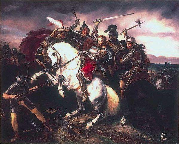 Tak śmierć Adolfa z Nassau w bitwie pod Göllheim wyobrażał sobie Simon Meister w 1829 roku (źródło: domena publiczna).