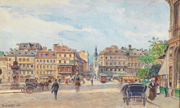 Przybywając w 1906 roku po raz pierwszy do Wiednia oczom Hitlera ukazały się właśnie takie widoki. Na ilustracji obraz Ernsta Granera (źródło: domena publiczna).