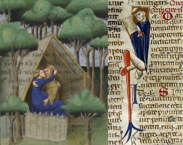 Nikogo nie dziwiło, gdy duchowni nurzali się w rozpuście. Po lewej ilustracja z Dekameronu z lat 30. XV wieku, należącego do hrabiego Karola de Croy-Chimay, po prawej iluminacja manuskryptu z 1440 roku (źródło: domena publiczna).