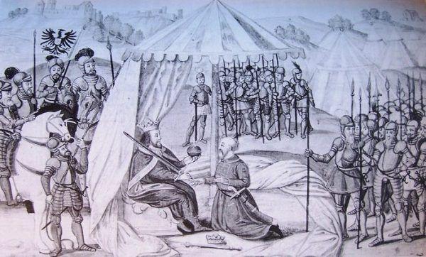 """Przemysł Ottokar II musiał w końcu uznać wyższość """"biednego hrabiego"""" i złożyć mu hołd (źródło: domena publiczna)."""