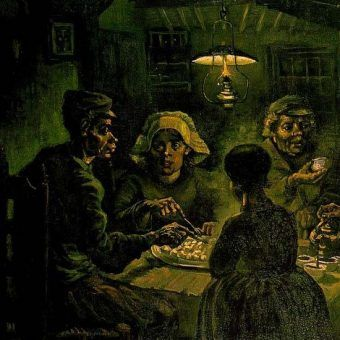 """Nędza niejedno ma oblicze. Na obrazie Vincenta van Gogha widzimy """"Jedzących kartofle"""" (źródło: domena publiczna)."""