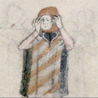 """Płacząca postać. Fragment XIV-wiecznego manuskryptu """"Aleksandreidy"""" (źródło: domena publiczna)."""