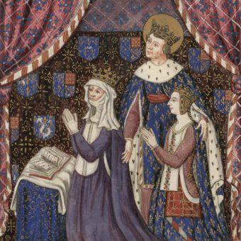 Król z żoną podebraną synowi i ich wspólną córką, w rzeczywistości urodzoną po jego śmierci... (źródło: domena publiczna).
