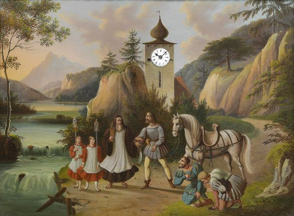 Rudolf Habsburg był bohaterem wielu legend. Według jednej z nich oddał swojego konia kapłanowi niosącemu Najświętszy Sakrament (XIX-wieczna ilustracja z domeny publicznej).