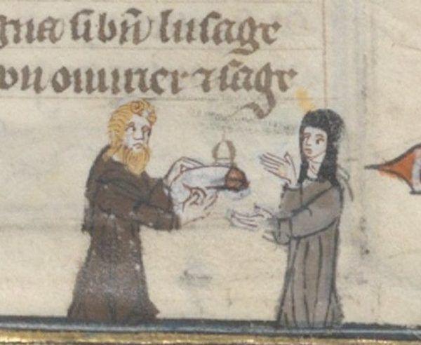 Flirt w kościele? Ilustracja z Roman de la Rose z XIV wieku (źródło: domena publiczna).