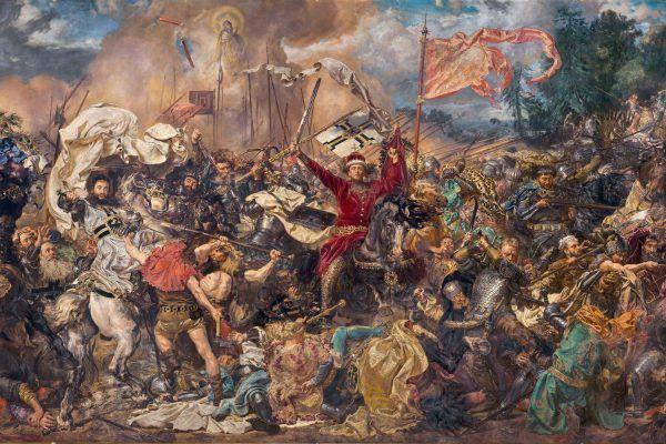Tak wielkie starcie polsko-krzyżackie pod Grunwaldem wyobrażał sobie Jan Matejko w 1878 roku (źródło: domena publiczna).
