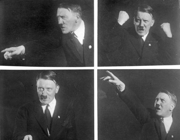 Hitler niestety okazał się świetnym mówcą, którego gesty i słowa porywały tłumy... Na zdjęciach Adolf ćwiczy pozy do swoich przemówień, 1927 rok (źródło: Bundesarchiv, lic.: CC BY-SA 3.0 de).