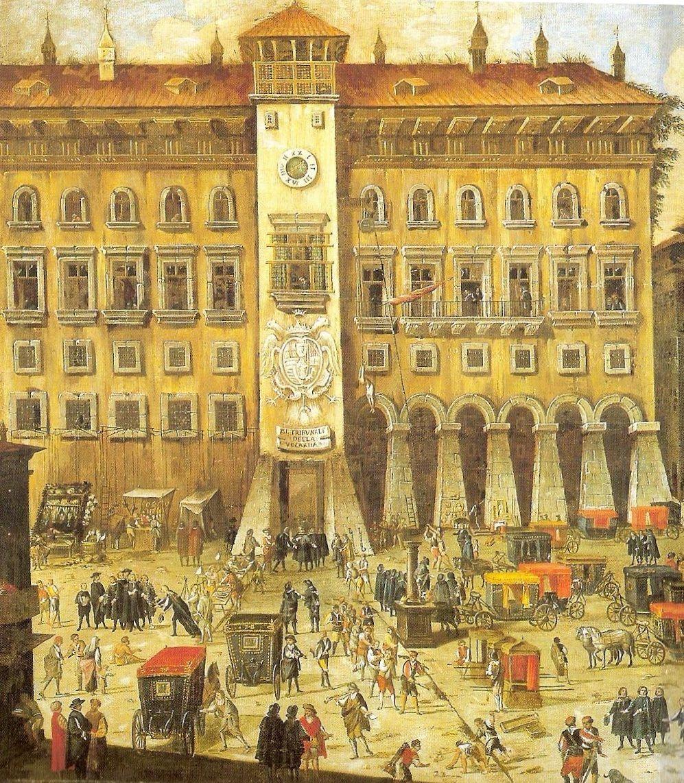 Neapolitański Castel Capuano na obrazie Carlo Coppoli. To właśnie tam zdecydowano o małżeństwie Bony i Zygmunta (źródło: domena publiczna).