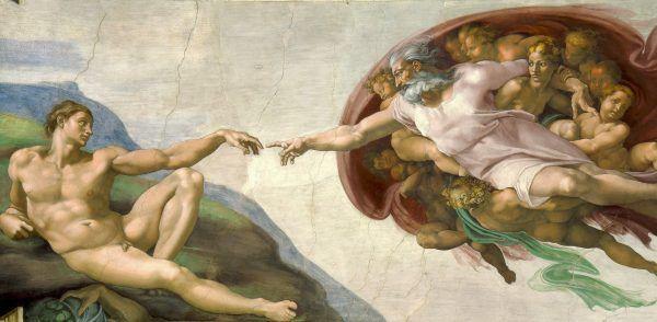 """Wiara w szczególne przymierze narodu z Bogiem to podstawa mesjanizmu. Fragment fresku z Kaplicy Sykstyńskiej """"Stworzenie Adama"""" (źródło: domena publiczna)."""