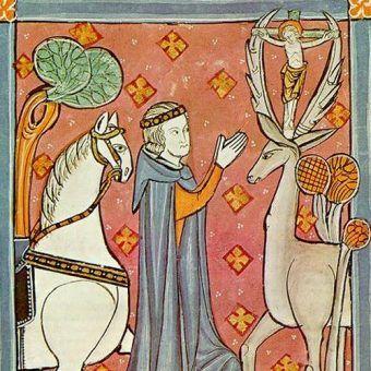 Święty Hubert (lub Eustachy) z koniem i jeleniem na XIII-wiecznym angielskim manuskrypcie (źródło: domena publiczna).