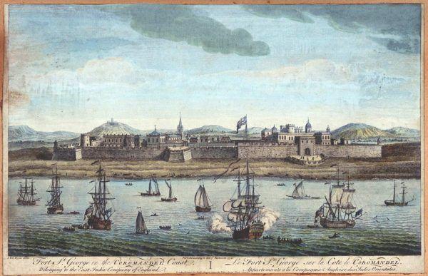 Brytyjczycy dostosowali infrastrukturę nowych ziem do swoich potrzeb. Fort St George założony w Madras (Ćennaj) w 1639 roku (autor obrazu: Jan van Ryne, źródło: domena publiczna).