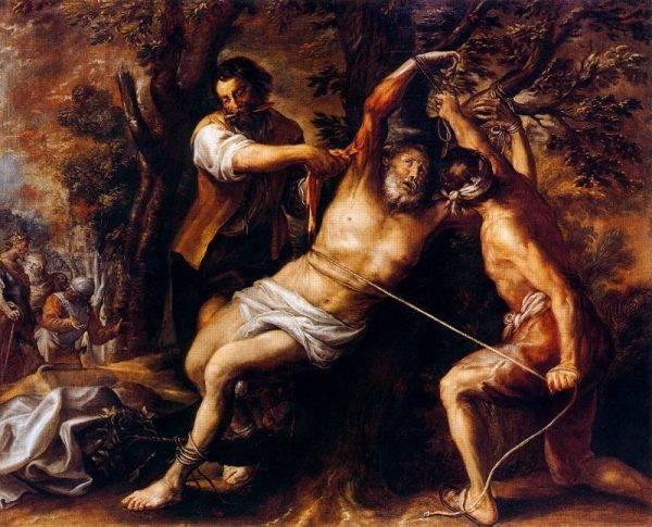 """Rzymianie szczególnie lubili obdzieranie ze skóry. Francisco Camilo, """"Obdarcie ze skóry św. Bartłomieja"""" (źródło: domena publiczna)."""