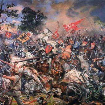"""Bitwa pod Grunwaldem to nie jedyne ważne wydarzenie, jakie miało miejsce w lipcu. Obraz """"Grunwald"""" autorstwa Wojciecha Kossaka, namalowany specjalnie dla Muzeum Narodowego w Warszawie (źródło: domena publiczna)."""