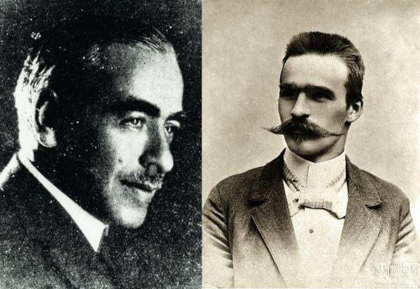 Aleksander Hertz (po lewej) na początku XX wieku trafił na Syberię za pomoc socjalistom. Wśród nich był również Józef Piłsudski (źródło: domena publiczna).