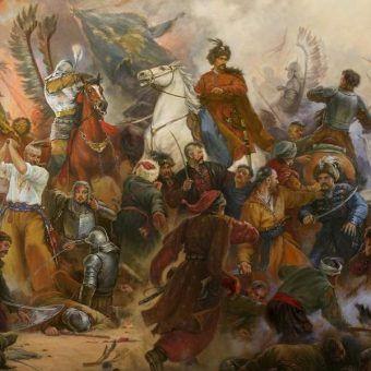 """Wokół husarii narosło wiele mitów. Czas się z nimi rozprawić. Na ilustracji fragment obrazu Artura Orlionowa """"Bitwa pod Beresteczkiem"""" (lic. CC BY-SA 3.0)."""